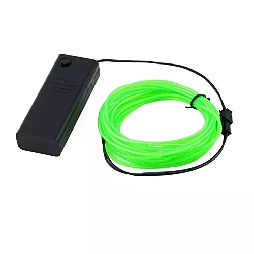 Sankei FG 3M Flexible EL Wire Rope Neon Light Glow With Controller For Party Dance Car Decor-fluorescentgreen