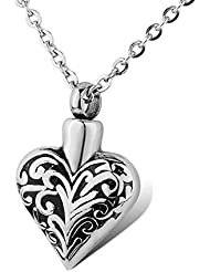HOUSWEETY Retro Heart Stainless Steel Waterproof Hallow Urn Pendant Necklace Memorial Ash Keepsake Cremation Jewelry...