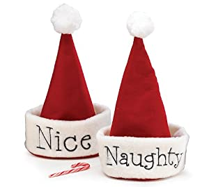 Naughty Or Nice Santa Christmas Hat Hand Stitched Festive Holiday Party Gift