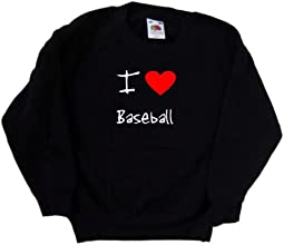 I Love Heart Baseball Black Kids Sweatshirt