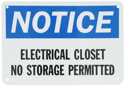 "Smartsign Aluminum Osha Safety Sign, Legend ""Notice: Electrical Closet No Storage Permitted"", 7"" High X 10"" Wide, Black/Blue On White"