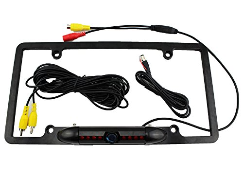 Lotfancy® Waterproof Color Cmos Car License Plate Frame Mount Rear View Backup Camera With 8 Ir Led Night Vision (170 Degree Viewing Angle / Distance Scale Line / Zinc Metal Casing / Black)