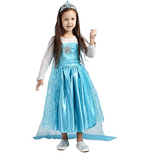 Santana Fashion Girls Snow Queen Costume Snow Princess Dresses - F4-Elsa