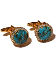 Cufflink-Tresure 925 Sterling Silver Natural Cooper Turquoise With CZ Gemstones Vermeil Cufflinks For Men (Ct9042)