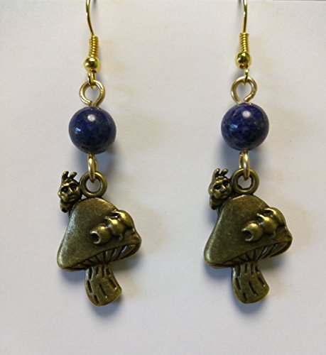 Alice in Wonderland Caterpillar Earrings with Genuine Lapis Lazuli (Caterpillar In Alice In Wonderland)