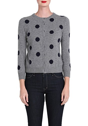 Cashmere Bracelet Sleeve Cardigan in Grey and Navy Dots