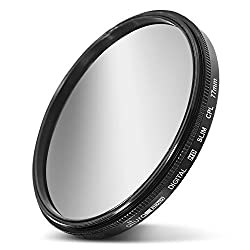 77MM Circular Polarizer CPL Filter (for Camera Lens with 77MM Filter Thread) + Premium MagicFiber Microfiber Cleaning Cloth