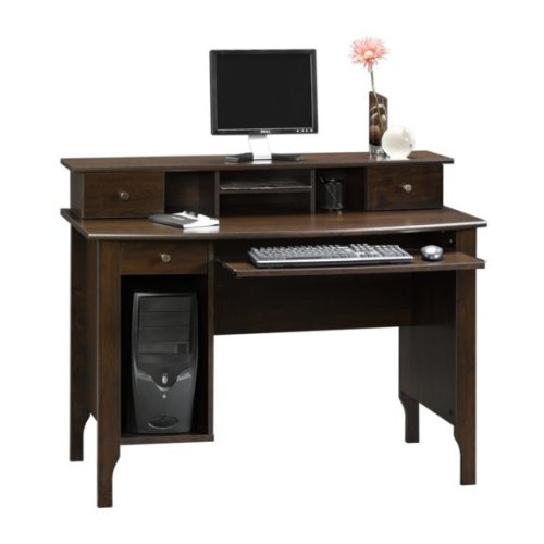 Dark Alder Computer Desk w/ Storage Hutch