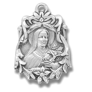Sterling Silver Fancy St. Therese with 18
