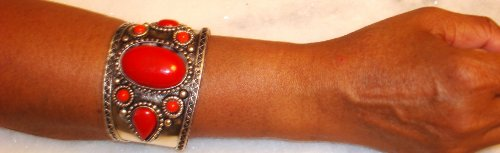 Antique Silver Plated Simulated Small and Large Red Rubies Bangle for Women and Teens