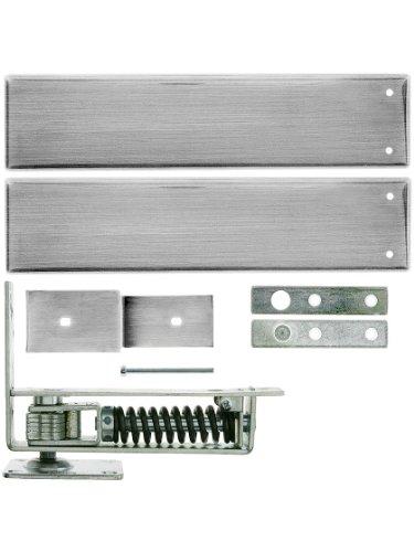 Standard Duty Swinging Door Floor Hinge With Plated-Steel Cover Plates In Satin Chrome. Double Action Floor Hinge.