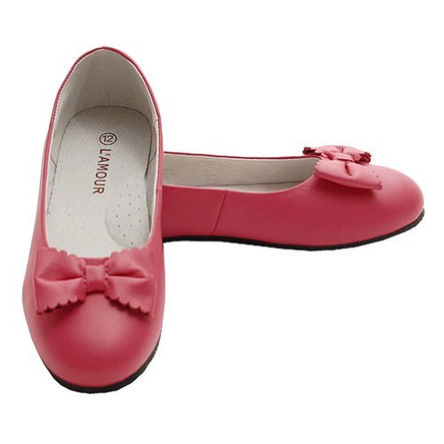 L'Amour Little Girl 3 Fuchsia Ballet Flat Style Scalloped Bow Shoe L'amour