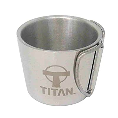 Titan Gear Double-Walled Stainless Steel Camping Mug for Hiking, Camping, Outdoors, Kitchen, Or Office - Carry One Now