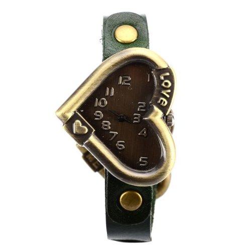 BestOfferBuy Women's Vintage Metal Love Heart Dial Leather Band Bracelet Watch Green