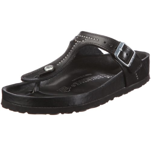 Birkenstock Gizeh Smooth Leather, Style-No. 743731, Unisex Thong Sandals, Black Strass-Chain, EU 35, normal width
