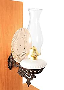 Amazon.com: Victorian Oil Lamp - Opal White w/Reflector Wall Mount - Hurricane Lamps: Home & Kitchen
