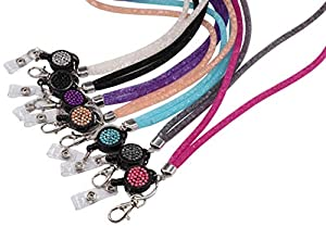 Bling Lanyard for Women, QBeel 32.8 Crystal Lanyards with ID Holder Retractable Rhinestone Lanyard for Keys Wallet Phones - 7 Pack (Color: 7 Pack)