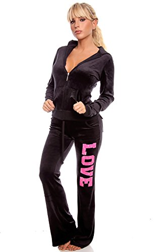 Lolli Couture 2 Piece Bold Love Track Suit Sweater And Sweatpant Set Blackpink M back-719069