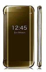 Original Delkart Style Statement Mirror Flip Cover For Samsung Galaxy S6 Edge(Gold)