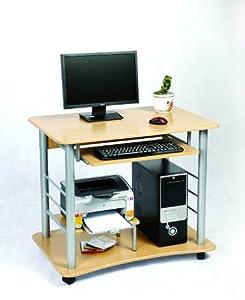 Zyon PC Desk w/ Keyboard Shelf - Pine effect w/ Wheels (PC, Monitor not included)