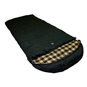 Ledge Sports Outfitter -20 F Degree XL Oversize Flannel Lined Sleeping Bag (Black, 90 X 40)