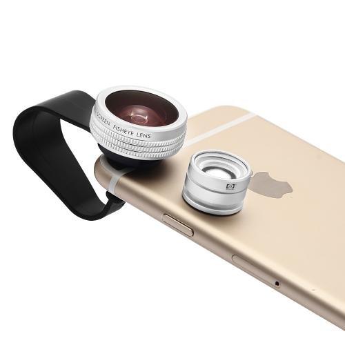 Apexel 180度魚眼レンズ+20xマイクロレンズ 2in1 iPhone・各種スマートフォン対応 挟むだけで簡単装着 シルバー