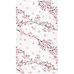 "InterestPrint Japanese Cherry Blossom Sakura Pink Floral Flower Hand Towel Bath Towels For Bathroom,Outdoor and Travel Use 16"" x 28"" Inche"