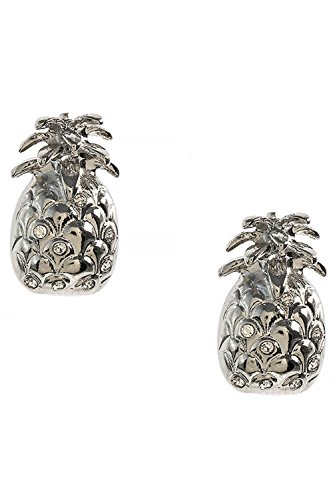 Polished Tropical Crystal Studded Pineapple 316L Surgical Steel Earrings (Silver) (Ebay Sterling Silver compare prices)