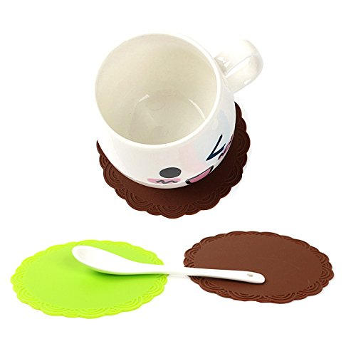 HornTide Silicone Drink Coaster Heat Resistant Cup Mat Withstand 230°C 446°F Protective Pads 10cm 4inch Set of 8 Multipurpose for Barware & Drinking (Brown)
