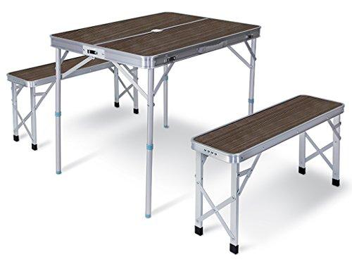 Bertoni Campus 4 Set Tavolo e 2 Panche da Campeggio, Marrone/Alluminio, Unica