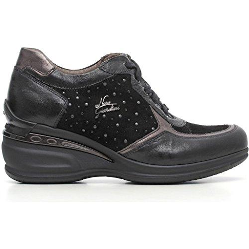 Sneakers Nero Giardini a616071d Stringate basse con suola zeppata Donna Nero autunno inverno 2017, EU 37