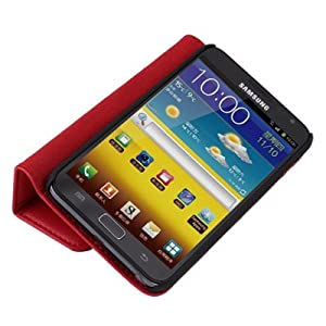 Red Book Type Folio Leather Case Cover For Samsung Galaxy Note i9220 w/ Stand