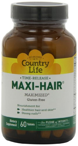 Country Life Maxi Hair Time Release, 60-Tablet (Pack Of 2)