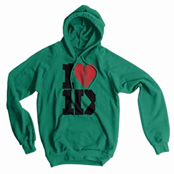 I Heart One Direction American Apparel Hoodie, Kelly Green, Small