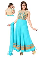 Ritu Creation Women's New Party Wear Net Stitched Anarkali Suit With Embroided (Blue)