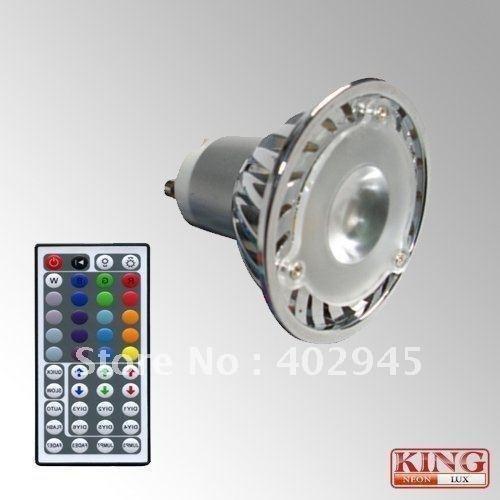 Dhl Shipping 12Pcs/Lot Rgb Led Spot Light 1X3W Gu10 Socket Rgb Led Bulb 3W Infrared Remote Controller Ir Remote Controller