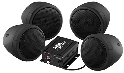 BOSS AUDIO MCBK470B Black 1000 watt Motorcycle/ATV Sound System with Bluetooth Audio Streaming, Two Pairs of 3 Inch Weather Proof Speakers, Aux Input and Volume Control