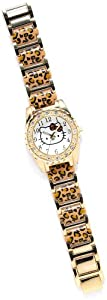 Hello Kitty Leopard Print Rhinestone Bezel Watch