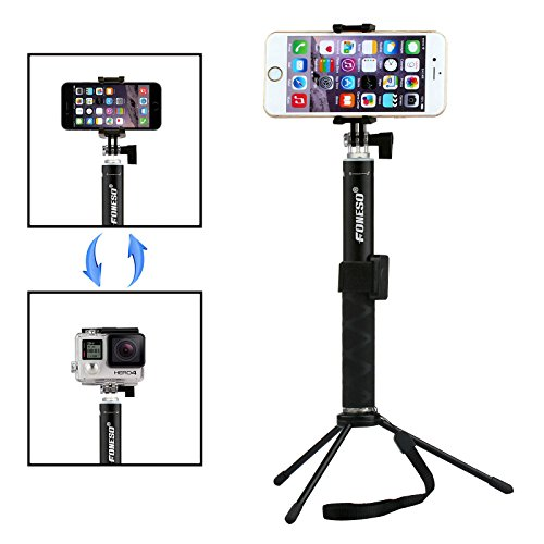 selfie stick foneso extendable monopod with bluetooth remote and tripod stand for iphone 7 6s. Black Bedroom Furniture Sets. Home Design Ideas