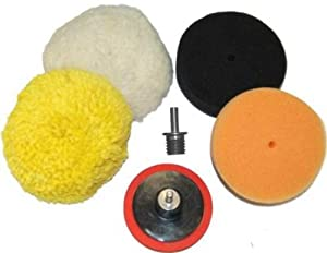 "TCP Global® Brand Premium Detail System 3"" Mini-Buffing Pad Kit - 4 Pads, Backing Plate, and 1/4"" Drill Adaptor by TCP Global"
