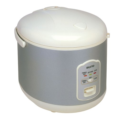 Sanyo ECJ-N55W 5-1/2-Cup Electric Rice Cooker with Porridge/Soup Cooker and Steamer