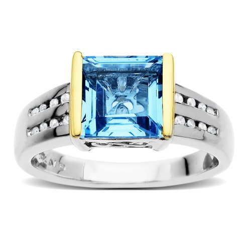 S&G Sterling Silver and 14k Yellow Gold Diamond and Square Swiss Blue Topaz Ring (0.9 cttw, I-J Color, I3 Clarity), Size 5