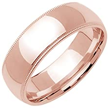 buy 14K Rose Gold Traditional Milgrain Edge Men'S Wedding Band (8Mm) Size-9.5