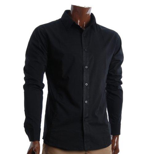 FLATSEVEN Mens Slim Fit Basic Dress Shirts Long Sleeve (SH400) Black, L