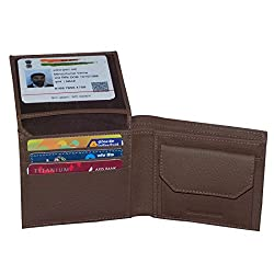 Brown Unisex Leather Card Holder Wallets with 5 Credit Card Slots