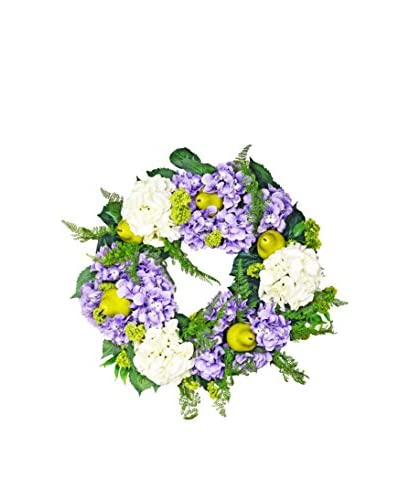 Creative Displays Hydrangea And Pear Wreath, Lavender/Crème/Green