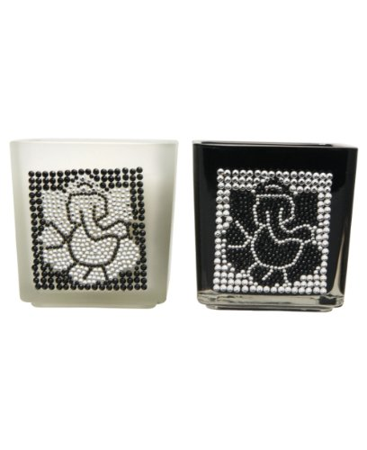 Set of Two Rhinestone Embellished Glass Ganesh Candles