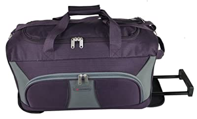 "5 Cities® 21"" Cabin Approved Super Lightweight Ripstop Fabric Wheeled Luggage Bag (Plum/Grey) - 'Right Size, Right Weight, Right Price!' - LuggageTravelBags"