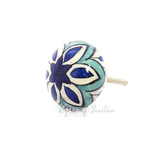 EYES OF INDIA - BLUE TURQUOISE CERAMIC DECORATIVE DRESSER CUPBOARD CABINET DOOR KNOBS PULLS HAND (Dresser Knobs Turquoise compare prices)
