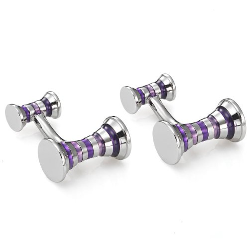Stunning Cuff Links Stainless Steel Cirque Mens Cufflinks in a Nice Box (Silver Purple)